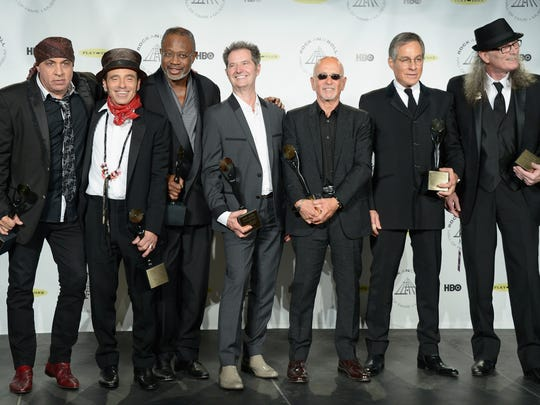 E Street Band members Steven Van Zandt, Nils Lofgren, David Sancious, Garry Tallent, Roy Bittan, Max Weinberg and Vini Lopez attend the 29th Annual Rock And Roll Hall Of Fame Induction Ceremony at Barclays Center of Brooklyn on April 10, 2014 in New York City.