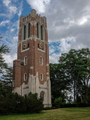 Beaumont Tower on the Michigan State University campus. The university is considering a stronger ban on relationships between faculty and undergrads.