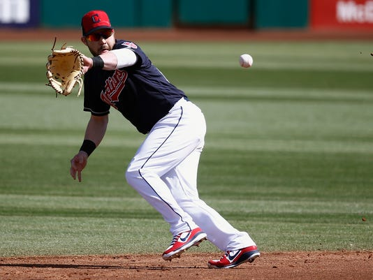 FILE - In this Feb. 27, 2018, file photo, Cleveland Indians second baseman Jason Kipnis runs down a grounder hit by Oakland Athletics' Steve Lombardozzi during the third inning of a spring training baseball game in Goodyear, Ariz. Following an injury-riddled 2017 season, Kipnis is much healthier this spring and has found another gear under the Arizona sun. An All-Star in 2013 and 2015, Kipnis homered in each of his first six Cactus League games, a sign of personal renewal and evidence to the Indians that the 30-year-old may be ready to produce more this season. (AP Photo/Ross D. Franklin, File)