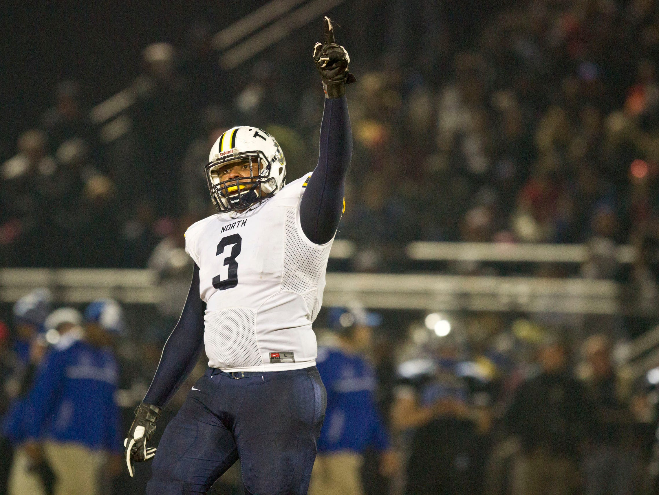 Toms River North's Kayin DaCruz reacts after making a tackle. Toms River North defeats Williamstown for the NJSIAA Group V State Championship title. Glassboro, NJ Saturday, December 5, 2015 @dhoodhood