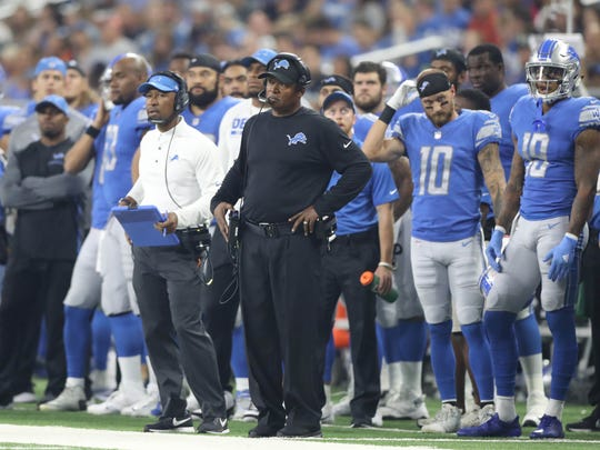 Lions coach Jim Caldwell on the sidelines during the first quarter of the Lions' 16-6 exhibition win over the Jets on Saturday, Aug. 19, 2017, at Ford Field.