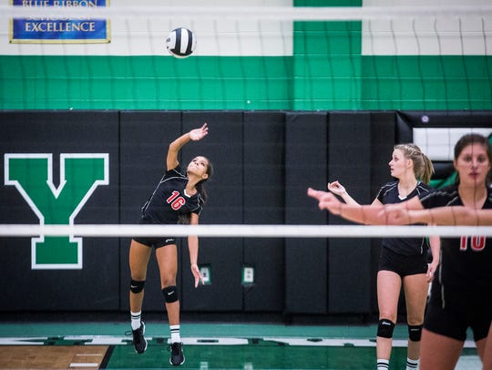 Wapahani's Alyvia Smith serves against Yorktown during
