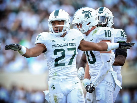 Michigan State Spartans safety Khari Willis (27) reacts