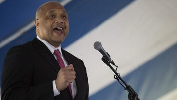 U.S. Rep. Andre Carson, D-Ind., speaks on April 4 at Martin Luther King Memorial Park in Indianapolis.