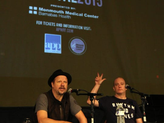 Music photographer and filmmaker Danny Clinch of Toms River and Tim Donnelly of Madison Marquette host Talking Story with Danny Clinch with Q&A during the Asbury Park Music In Film Festival at Paramount Theater in Asbury Park, NJ Sunday April 12, 2015.  Staff photo Tanya Breen