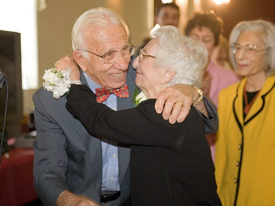 John and Ann Betar embrace at their 75th wedding anniversary.