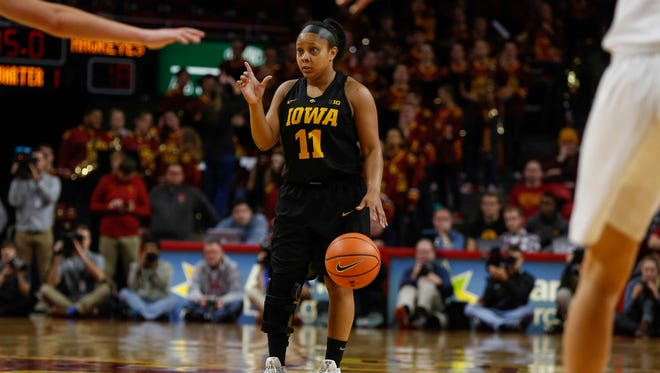 Iowa junior Tania Davis calls a play against Iowa State on Wednesday, Dec. 6, 2017, at Hilton Coliseum in Ames.