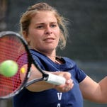 Wolf Pack women's tennis player Michelle Okhremchuk practices at Caughlin Athletic Club last week.