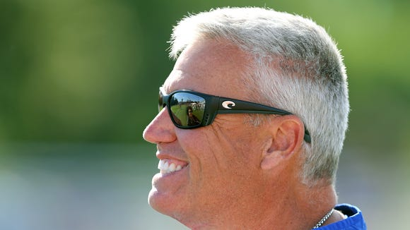 Always quick with a smile, Bills head coach Rex Ryan before a training camp practice.