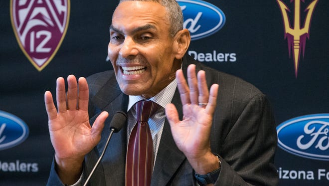 Arizona State University head football coach Herman Edwards takes questions from the media at Sun Devil Stadium, Monday December 4, 2017.