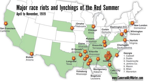 The major race riots and lynchings during Red Summer, 1919.