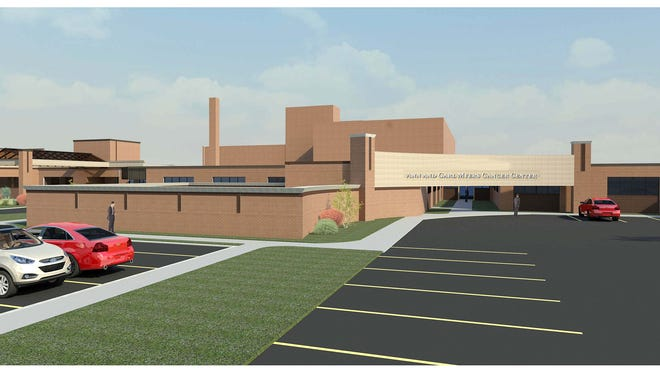 A rendering of the entrance to the Ann and Carl Myers Cancer Center at Nicholas H. Noyes Memorial Hospital in Dansville, Livingston County. The center needs state approval, but hospital officials expect it to open at the end of next year.