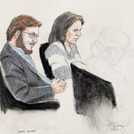 In this Jan. 20, 2015 courtroom file sketch, James Holmes, left, and defense attorney Tamara Brady are depicted, as they sit in court on the first day of jury selection in Holmes' trial, at the Arapahoe County Justice Center, in Centennial, Colo. After years delay, his trial starts Monday, April 27, 2015.