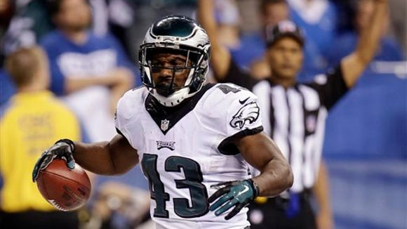 Philadelphia Eagles' Darren Sproles (43) reacts after scoring on a 19-yard touchdown run during the second half of an NFL football game against the Indianapolis Colts Monday, Sept. 15, 2014, in Indianapolis. (AP Photo/AJ Mast)