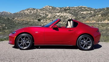 With the top down, the 2017 Mazda Miata RF resembles the Porsche 911 Targa. It drew plenty of gawkers during a morning sprint through the hills of southern California.