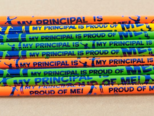Special pencils are displayed at Evergreen Avenue Elementary