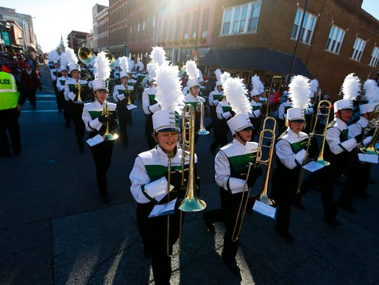 The Parkview High School Marching Band marches in the