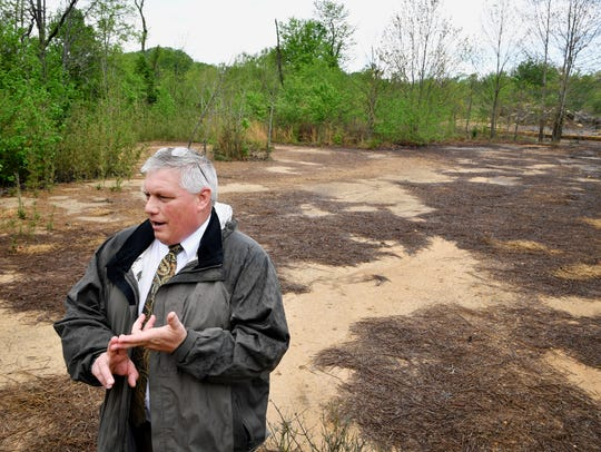 Decatur County Mayor Mike Creasy stands in an area where runoff from the landfill has caused vegetation to be killed and polluted a creek nearby Wednesday, April 19, 2017, in Decaturville, Tenn. He is afraid it will leach into nearby wells and affect the local drinking water.