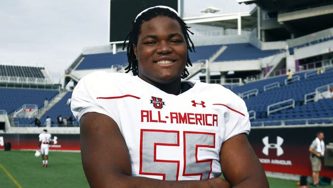 Rashan Gary won the defensive MVP trophy following the 2016 Under Armour All-American Game at the Orlando Citrus Bowl.