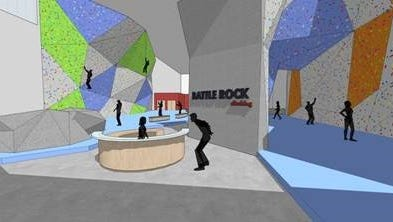 A rendering of Battle Rock, a proposed project at 50 W. Michigan Ave. that was acquired Thursday by Cereal City Athletics.