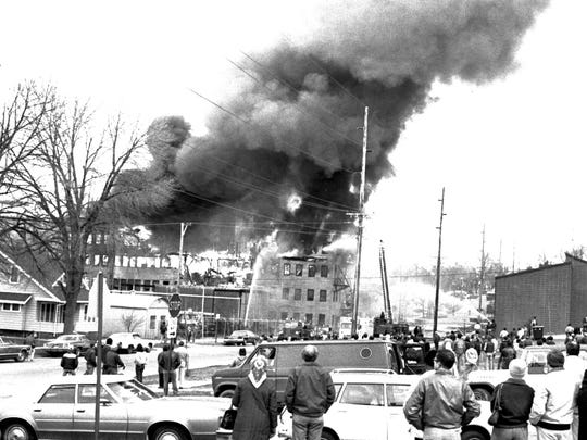 Another view of the catastrophic fire that led to Thonet leaving Sheboygan, 1982.