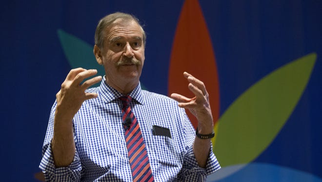 Vicente Fox, former president of Mexico, speaks about the cannabis industry during the Southwest Cannabis Conference and Expo at the Phoenix Convention Center on Oct. 14, 2017.