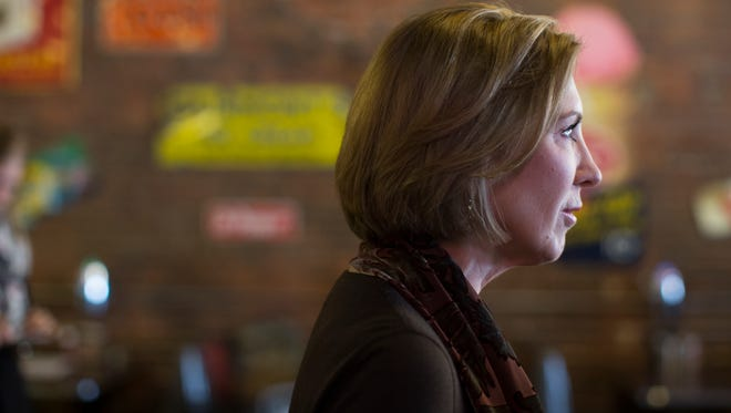 Carly Fiorina speaks during a campaign stop at Smokey Row Coffee Company on Jan. 27, 2016, in Oskaloosa, Iowa.