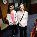 LSUS student Marithe Gutierrez (left) helped in class when Payton McCalmont collapsed from cardiac arrest.