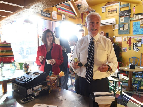 Vice President Joe Biden and U.S. Senate hopeful Catherine Cortez Masto pay a visit to Simple Ice Cream Sandwiches in Reno on Oct. 29, 2016.