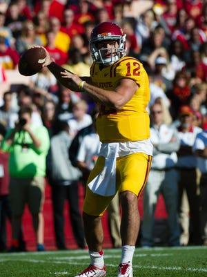 Oct 11, 2014; Ames, IA, USA; Iowa State Cyclones quarterback Sam B. Richardson (12) drops back to pass against the Toledo Rockets at Jack Trice Stadium.