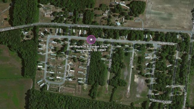 A man was robbed in the highlighted area of the County Seat Gardens Mobile Home Development north of Georgetown.