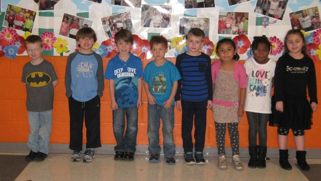 Kindergartners named Students of the Month for April at Janvier School in Franklin are: (from left) Levi Gouse, Nate Serad, C.J. Sougstad, Eduardo Palillero, Brandon Entrekin, Stephanie Carrasco-Galvan, Amirrah Thomas and Jordyn Cervini.