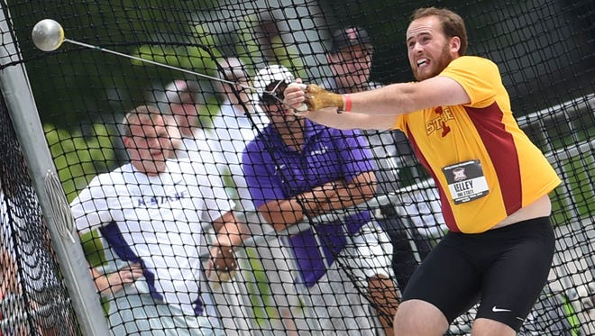 Iowa State's Henry Kelley winds up for his first throw in the hammer throw event on Friday, May 15, 2015, during the 2015 Big 12 Outdoor Track & Field Championships held at Iowa State University.