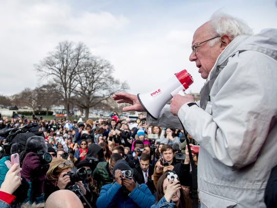 Sen. Bernie Sanders speaks at a student-led gun control rally outside the Capitol Building in Washington on March 14, 2018.