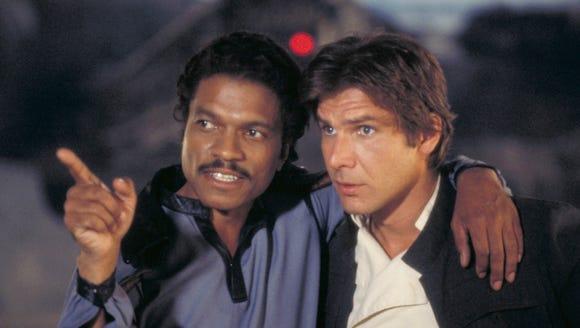 Lando Calrissian (Billy Dee Williams) and Han Solo