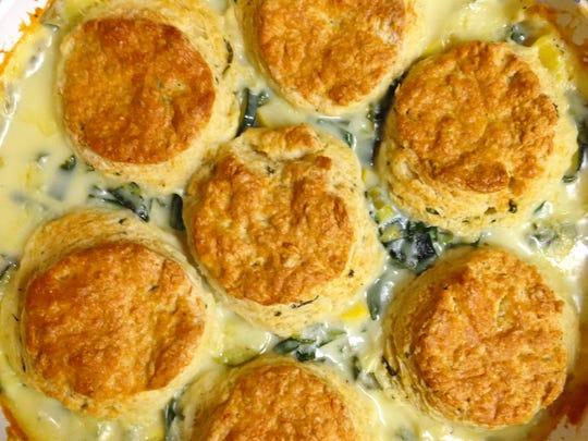 Summer Vegetarian Cobbler with Basil Parmesan Biscuits