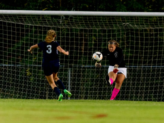 Bearden's Abby Mink kicks the ball back into play during the 2017 District 2-AAA Girls Soccer Tournament game between Bearden and West at Bearden High School in Knoxville, Tennessee on Thursday, October 12, 2017.
