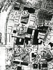 A 1950s proposal showing five parking garage locations in downtown Binghamton.