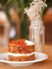 The mandarin cake dessert dish at the Half Peach Bakery