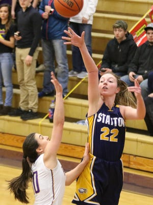 Stayton's Sierra Shelton goes up with a shot against Marshfield on Saturday,  March 4, 2017.