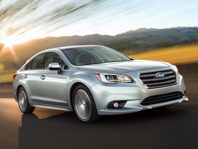 The redesigned 2015 Subaru Legacy midsize sedan unveiled earlier this year at the Chicago Auto Show.