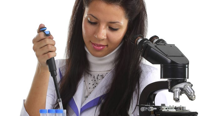 Girl working in laboratory