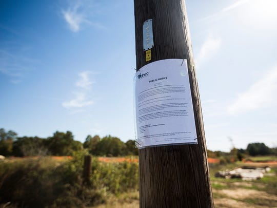 A public notice can be seen Monday at the Plantation Pipe Line site off Lewis Drive near Belton.