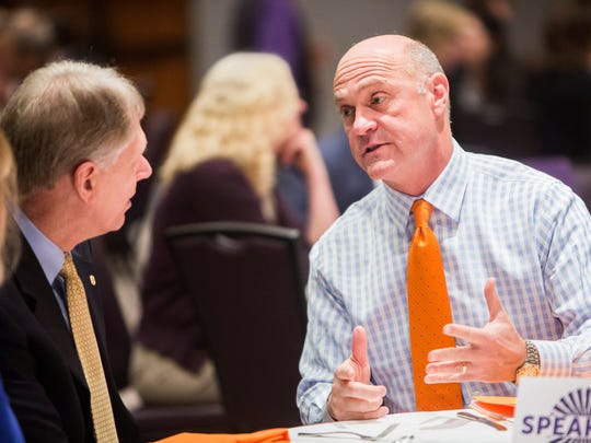 Clemson University President James Clements speaks with Southern Wesleyan University President Todd Voss at the State of Clemson event presented by the Clemson Area Chamber of Commerce on Tuesday, February 7, 2017 in Clemson.