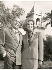 Frank and Barbara Sinatra in front of El Mirador tower