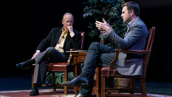 """J.D. Vance, right, author of the best-seller """"Hillbilly Elegy,"""" speaks with Purdue President Mitch Daniels Monday at Loeb Playhouse in Purdue's Stewart Center. The discussion was part of Purdue's Presidential Lecture Series."""