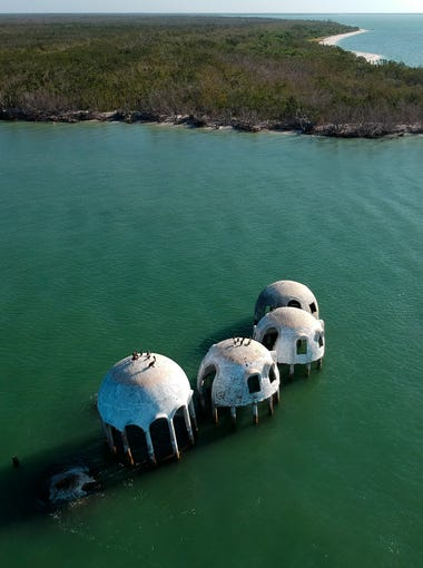 An aerial view of the infamous dome home off of Cape Romano south of Marco Island on Wednesday, May 9, 2018. The peculiar looking structures, part of the Cape Romano dome home, have become a popular destination for local anglers and tourists alike.