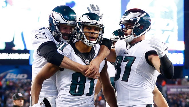 Philadelphia Eagles wide receiver Jordan Matthews (C) celebrates with teammates after scoring a touchdown against the New England Patriots during the second half at Gillette Stadium.