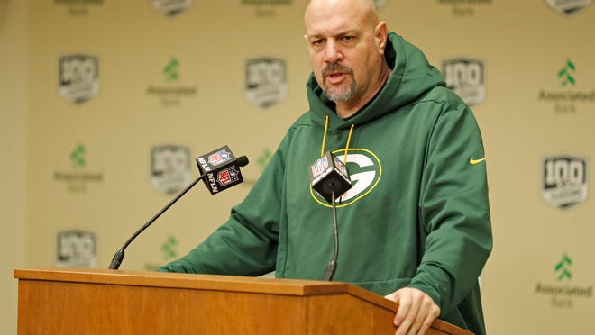 FILE - Green Bay Packers' defensive coordinator Mike Pettine addresses the media during a press conference in Green Bay, Wisc., in this Monday, Feb. 18, 2019, file photo. All four defensive coordinators who will be trying to shut down high-powered offenses in the NFL playoffs this weekend have been head coaches before, providing valuable experience in the conference championships. (AP Photo/Matt Ludtke, File)