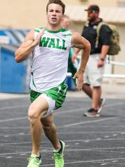 Wall's Mark Van De Walle races in the 400 meters during the District 4-3A Track and Field Championships Friday, April 6, 2018, at Wall High School.